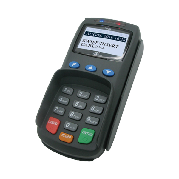 Pax SP30<br>The high-speed processor and large memory support a broad range of payment and value-added applications. The SP30 offers a built-in contactless card reader, magnetic card reader, and IC card reader.