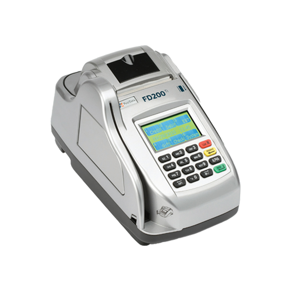 FD200 TI (Telecheck)<br>FD200Ti terminal features a built-in check reader and imager that processes checks through the TeleCheck Electronic Check Acceptance® (ECA®) service, which verifies a customer's checking history and, as an option, offers a warranty service.